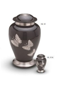 Urn black with butterfly
