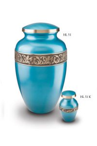 Urn blue metal with band