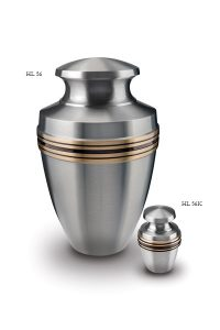 Urn silver with blac and gold band